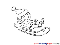 Boy Sleigh Winter  free Coloring Sheets