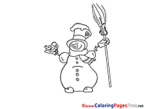 Broom Winter Snowman Coloring Page  for Kids