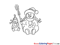 Broom Winter Snowman Colouring Page for Children