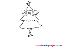 Christmas Tree  Winter Colouring Page for Children