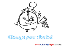 Clock Winter Coloring Sheets free