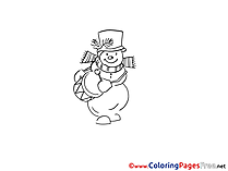 Drum Winter Snowman Coloring Pages for Kids