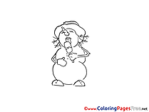 Ice Cream Snowman Winter Colouring Sheet free