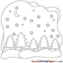 Night Winter Colouring Sheet free