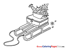 Presents Winter  Sleigh free Coloring Sheets