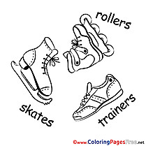 Skates Winter printable Coloring Sheets