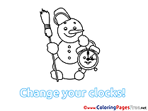 Snowman Winter Clock free Colouring Page
