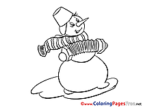 Snowman Winter Colouring Sheet download