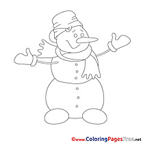 Snowman Winter printable Coloring Pages