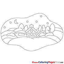 Ville Night Winter Coloring Pages download