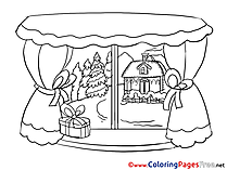 Window Winter printable Coloring Pages