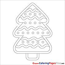 Winter Christmas Tree free Colouring Page