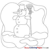 Winter Snowman Colouring Sheet download