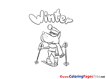 Wolf Ski Winter Coloring Pages for Kids