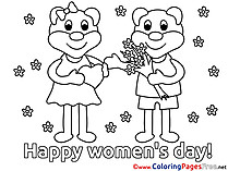Bears Flowers Children Women's Day Colouring Page