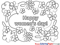 Flowers Colouring Sheet download Women's Day