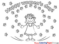Girl Flowers Coloring Pages Women's Day for free