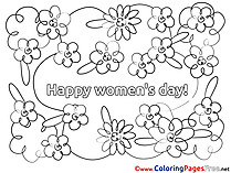 Happy Women's Day free Flowers Colouring Page