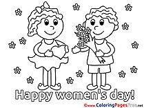 Kids Coloring Sheets Women's Day free