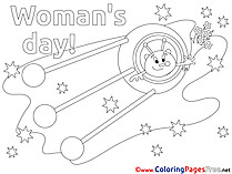 Rocket Alien Kids Women's Day Coloring Page