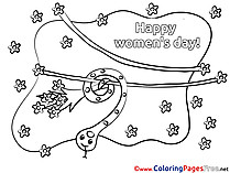 Snake Bouquet free Women's Day Coloring Sheets