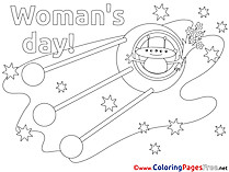 Space Rocket Colouring Sheet download Women's Day