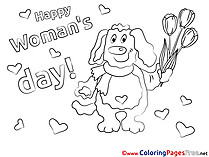 Tulips Dog for Kids Women's Day Colouring Page