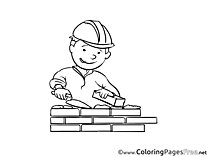 Builder Kids free Coloring Page