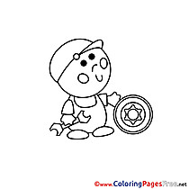 Car Mechanic printable Coloring Pages for free