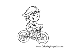 Cyclist Children download Colouring Page