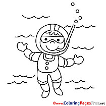 Diver printable Coloring Pages for free