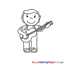 Guitarist Colouring Sheet download free
