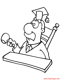 Judge cartoon - work coloring pages