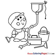 Plumber Kids free Coloring Page