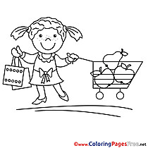 Shopping for free Coloring Pages download Girl