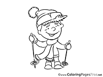 Skier Colouring Sheet download Invitation
