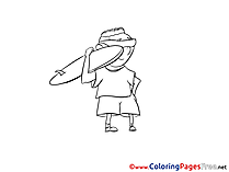Surfer Colouring Page Invitation free