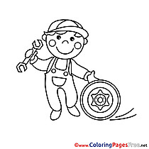 Technician Colouring Page printable free