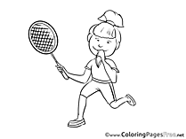Tennis Player Children Coloring Pages free