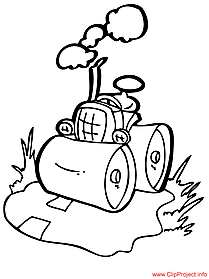 Tractor cartoon - work coloring pages
