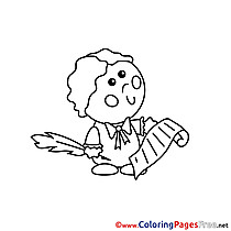 Writer Children Coloring Pages free