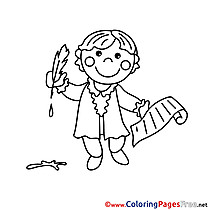 Writer free Colouring Page download