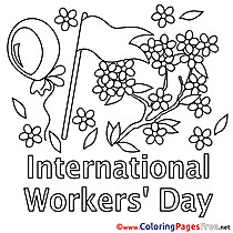 Flag printable Coloring Pages Workers Day