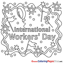 Holiday Colouring Page Workers Day free