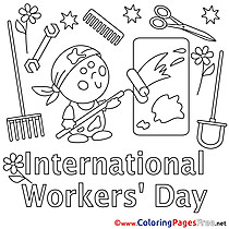 Painter Workers Day Colouring Sheet free