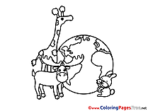 Animals Planet Colouring Page printable free