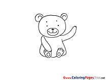 Bear download Colouring Sheet free
