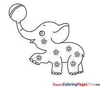 Elephant with Ball  free Coloring Pages for Children