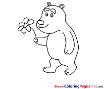 Flower Bear Coloring Pages for free