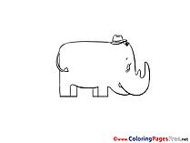 Illustraton Rhino printable free Colouring Page